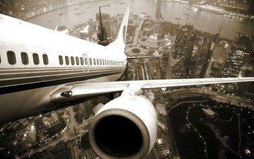the plane, gorod, vzlet, reka, dvigatel, illyuminatory