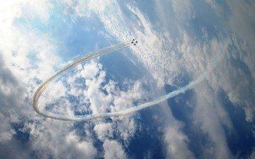istrebiteli, nebo, samolety, kolco, pilotazh, oblaka