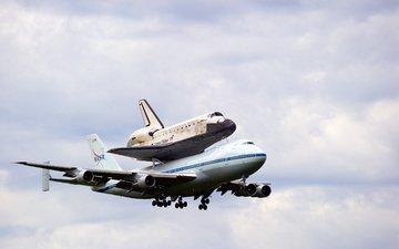 the sky, the plane, shuttle, landing