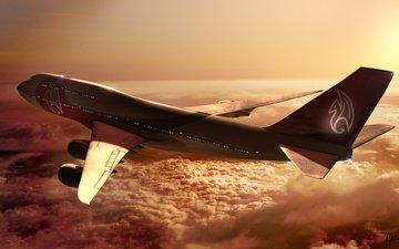 boeing, 747, solnce, polyot, oblaka