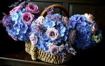 цветы, розы, корзина, cvety, rozovyj, goluboj, korzinka, rozy, gortenziya, гортензия, корзинка с цветами, букеты