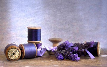 цветы, лаванда, фиолетовые, нитки, cvety, fioletovyj, cvetok, lavanda, nitki, katushki, катушки