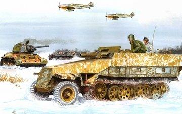 samolety, sneg, bronetransportyor, verma, tank, risunok