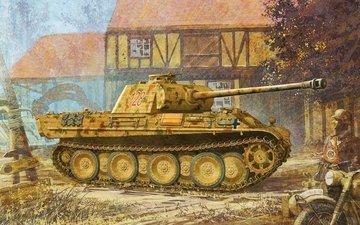 nemcy, srednij, pantera, vermaxt, vtoraya, tank, risunok