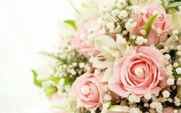 цветы, розы, букет, лилии, cvety, belye, rozy, buket, lilii, розовые розы, rozovye rozy, белые лилии