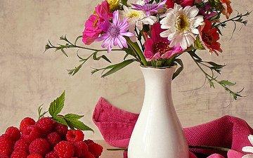 cvety, leto, solnce, natyurmort, vaza, yagody