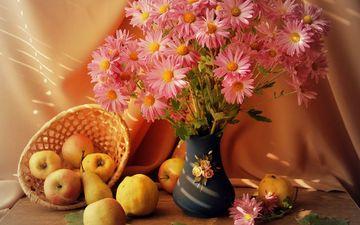 цветы, фрукты, яблоки, стол, корзина, ваза, корзинка, натюрморт, груши, listya, frukty, vaza