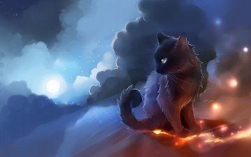 небо, арт, облака, кот, кошка, луна, черный, огоньки, apofiss