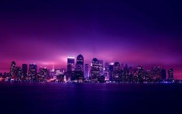 ночь, огни, город, небоскребы, ночной город, нью-йорк, здания, манхэттен