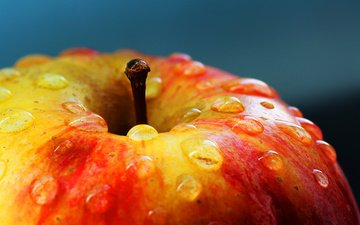 macro, drops, fruit, apple, beautiful, ruddy, liquid