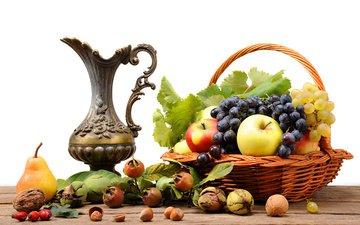 орехи, виноград, фрукты, яблоки, стол, шиповник, корзина, кувшин, натюрморт, груша
