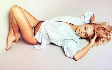 girl, blonde, look, lies, hair, shirt, bikini