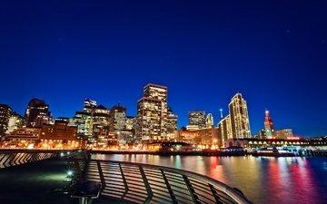 огни, мост, ночной город, сша, сан-франциско, калифорния