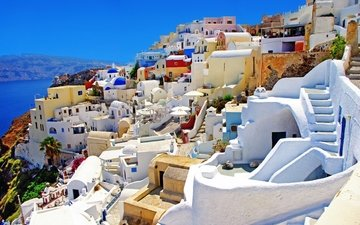 восход, солнце, природа, камни, утро, город, дома, церковь, греция, здания, купола, санторини, oia, ия, эгейское море, санторин