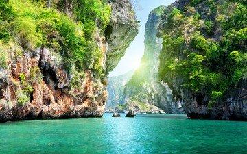 скалы, море, тропики