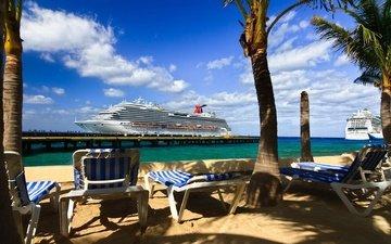 пальмы, океан, отдых, тропики, лайнер