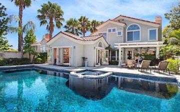 пальмы, бассейн, тропики, фазенда
