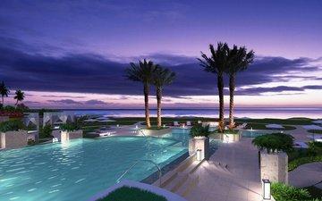 пальмы, бассейн, тропики