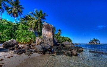 песок, пляж, пальмы, тропики