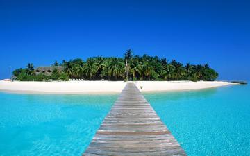 песок, пляж, пальмы, океан, остров, тропики, мальдивы