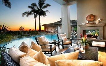 интерьер, пальмы, бассейн, тропики, фазенда