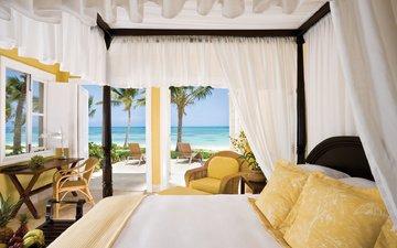интерьер, пляж, пальмы, отдых, тропики