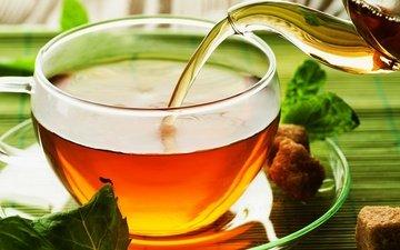 блюдце, чашка, напитки, чай, чайник, сахар, мелисса