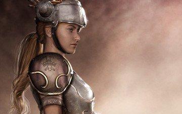 арт, девушка, шлем, фэнтези, профиль, броня