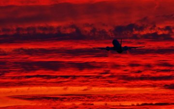the sky, night, sunset, the plane