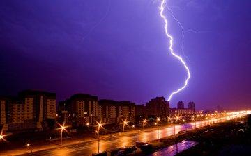 фонари, огни, молния, дома, ночной город, улица