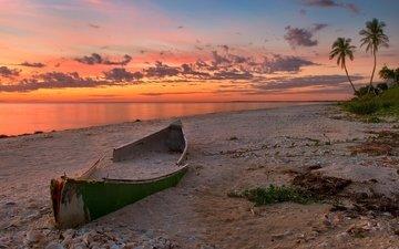 природа, закат, пейзаж, море, песок, пляж, лодка, океан, каноэ