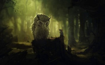 art, trees, owl, forest, mouse, darkness, stump, the conversation