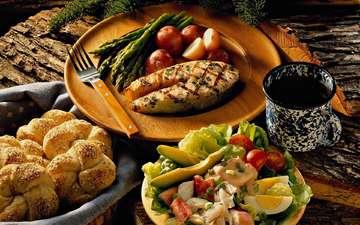 хлеб, рыбка, обед, вкусно, салат, спаржа, авакадо, форель