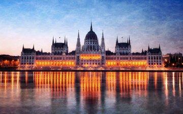 ночь, огни, венгрия, будапешт, парламент, дунай, архитектурное здание