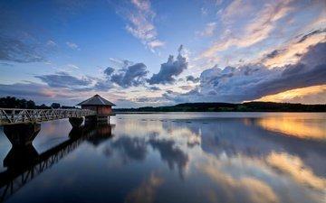 небо, облака, вода, вечер, река, мостик, закат, тучи, отражение, великобритания, англия, гладь