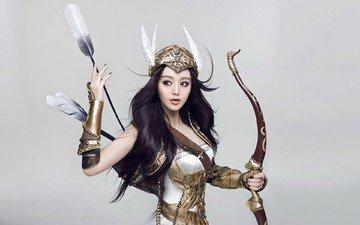 девушка, лук, лучница, охотница, доспехи, стрелы, восточная