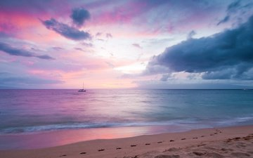 the sky, clouds, sunset, landscape, sand, beach, the ocean, usa, hawaii, the island of maui