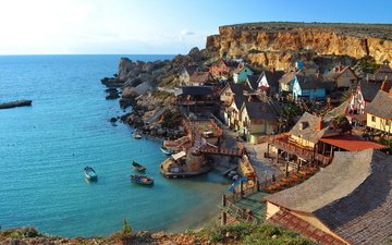 небо, море, деревня, лодки, дома