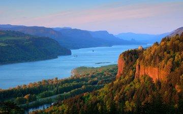 река, горы, лес, пейзаж, сша, ущелье, орегон, река колумбия