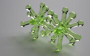 зелёный, цвет, форма, фигуры, стекло, модели, 3д, химические соединения