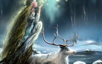 арт, олень, девушка, профиль, лицо, животное, рога, огоньки, принцесса, длинные волосы, мания