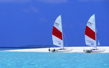 пляж, яхты, тропики, мальдивы