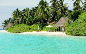 пляж, пальмы, тропики, мальдивы