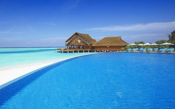 beach, bungalow, tropics, the maldives