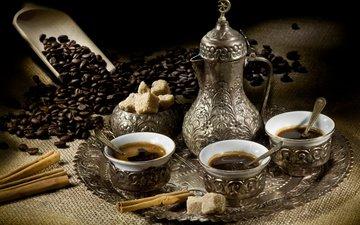 корица, зерна, кофе, кофейные, сахар, поднос, сервиз, сервировка, лопаточка, кофе по-турецки