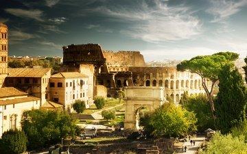 деревья, люди, дома, италия, архитектура, колизей, рим, арка константина