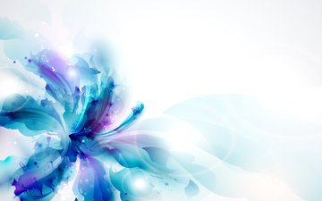 абстракция, фон, синий, цветок, лепестки, брызги, пестик, яркость