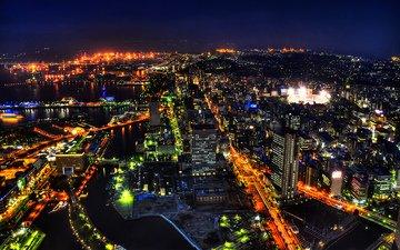 панорама, япония, токио, ночной вид сверху