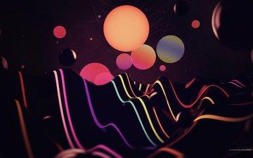 абстракция, линии, цвета, волны, фон, узоры, пятна, круги