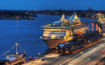 огни, вечер, причал, порт, лайнер, круизное судно